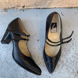 Charles Jourdan Mary Jane Heels with Double Clasps